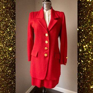 St. John Three Piece Red Knitted Skirt Pant Suit